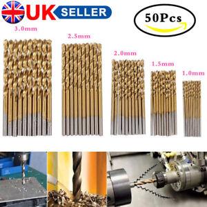 50Pcs Twist Drill Bits HSS High Steel Titanium Saw Drilling Bits Wood Metal Tool