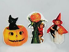 Vintage-style Halloween Paper Decorations Witch Black Cat Jack O Lantern