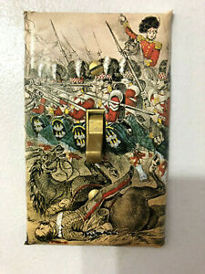 Art Light Single Switch Wall Plate Scotland Battle Print Embellished Tartan Kilt