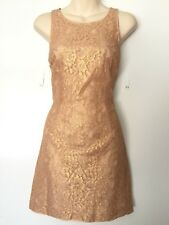 PORTMANS Nude/Gold Lace Dress With Exposed Back Zip Evening Cocktail 10 #12273