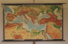 Wall Map Beautiful Old Mittelmeerkarte Italy Africa Alps 263x160c 1966 Vintage