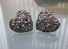 Small Sparkly Dark Silver / Black Heart Crystal Diamante Diamond Stud Earrings