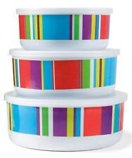 Outdoor Picnic Patio Melamine Serve & Store Stripe Food Storage Bowls Lids Set