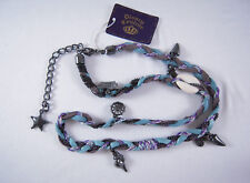 Disney Couture Blue Braided Leather Wrap w/Charms