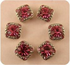 2 Hole Beads 8mm Rose Pink Stardust Crystal Gala Swarovski Elements Silver Qty6