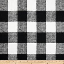 Black and White Buffalo Check Fabric, Drapery / Upholstery Plaid Fabric by yard