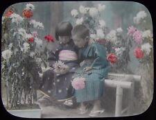 Glass Magic Lantern Slide JAPANESE BROTHER & SISTER C1910 PHOTO JAPAN FLOWERS