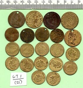 21 OLD AND MODERN 1790 - 1800 SPADE HALF GUINEA ADVERT TOKENS (GT 1)