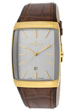 Skagen Mens 984LGLD Gold-tone Brown Leather Bracelet Swiss Quartz Watch