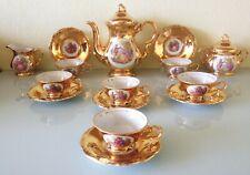 Magnifique service en porcelaine Bavaria à café / thé décor Fragonard et or