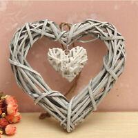 LN_ SHABBY WICKER LOVE HEART WREATH WALL HANGING WEDDING BIRTHDAY PARTY DECOR