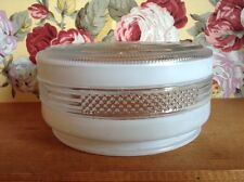 Vintage white and clear round ceiling light shade