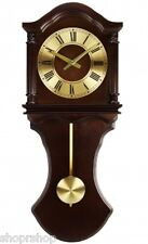 Bedford Clock Collection Chocolate Wood Wall Clock with Pendulum and Chimes NEW