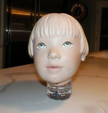 VINTAGE PLASTER MANNEQUIN STORE DISPLAY FEMALE GIRL HEAD MOLDED HAIR FRECKLES