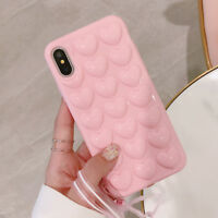 For iPhone XS Max X 7 8 Plus 3D Heart Soft Silicone Shockproof Bumper Case Cover