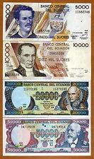 SET Ecuador, 5000;10000;20000;50000 Sucres, 12-7-1999, Pick 127;128;129;130 UNC