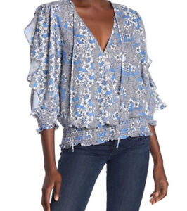 Rare Parker Lyla Floral Ruffle Sleeve Blue Top Blouse  Size S