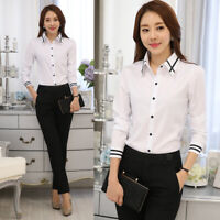 Women's Ladies Business Office OL Button Long Sleeve Formal Top Shirt Blouse