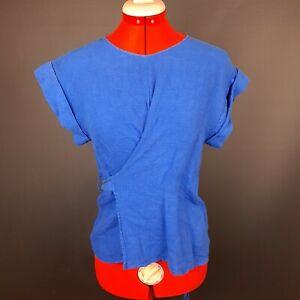 Women's Zara Basic Size XS Blue Linen Wrap Top - GH11