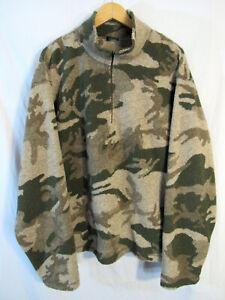 Cabela's Men's Camo 1/4 Zip Poly Lined Berber Fleece Pullover Sz 2XL Windshear