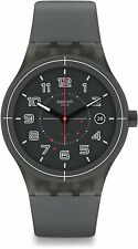 New Swatch Sistem52 Sistem Ash Gray Black Automatic Mens Swiss Watch SUTM401