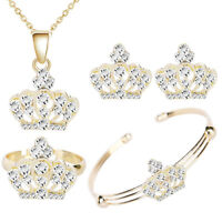 Gold Crowns Diamante Shine Earrings Ring Bracelet and Necklace Jewelry Set S955