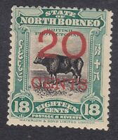 North Borneo 1909 - 20c on 18c Green - SG177 - Mint Hinged (A8C)