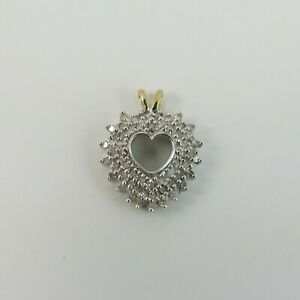 9ct Yellow & White Gold 375 Diamond Heart Pendant or Charm