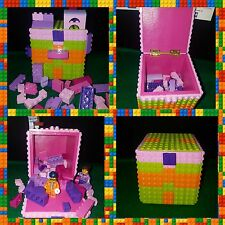 Orange, Green and Pink Lego Box.