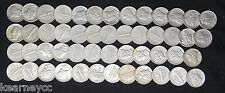 Mercury Dimes Mixed Date Extra Fine Xf - About Unc Au Full Roll 50 Silver Coins