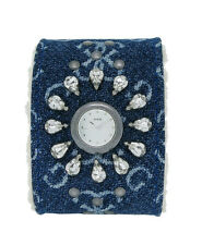 Guess 11050L4 Womens Round Analog Clear Stone Blue Denim Acrylic Wool Cuff Watch