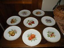 """Hutschenreuther Fruit Favorit Shape Set Of 8 Salad /Dessert 8"""" Plates 1962"""