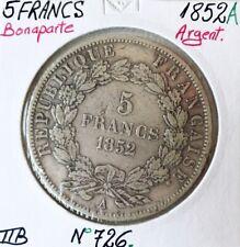 5 FRANCS LOUIS-NAPOLEON BONAPARTE - 1852A - Monnaie en Argent // TTB (REF1)