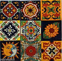 "W138 - 9  Mexican Talavera Tiles Ceramic Hand Made 4"""