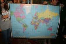"""LARGE 5' Vintage Universal World Map Classroom School Approx 44"""" x 60"""""""