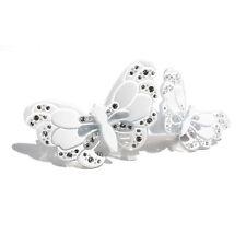 Moliabal Milano Medium Barrette-  White Butterfly   Rhinestone Accents