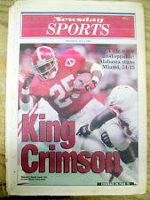 <1993 newspaper ALABAMA CRIMSON TIDE WIN COLLEGE FOOTBALL CHAMPIONSHIP vs Miami