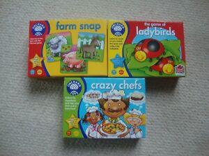 Orchard Toys games bundle x 3 - Farm Snap, Ladybirds, Crazy Chefs
