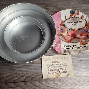 Wilton 1986 Round Double Tier Cake Pan Baking Form 2105-1400 Wedding Bday