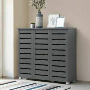 Dark Grey 5 Tier Shoe Storage Cabinet 3 Door Cupboard Stand Rack Unit    BTAD