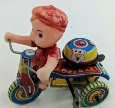 Vintage Unique Art Kiddy tricycle Tin Wind-up Toy W/ Bell