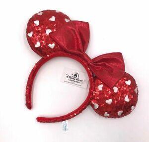 Minnie Ears Mickey Mouse Girl Red Heart Sequin Bow Disney Parks Headband