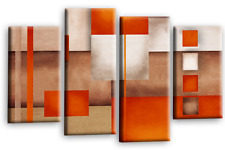 """Large Abstract Art Picture Orange Beige Brown Rectangle Square Canvas Multi 44"""""""