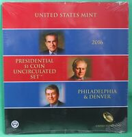 2016 Presidential $1 Coin Uncirculated Set 6 Golden BU Dollars US Mint SEALED
