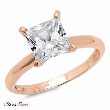 1.50 ct BRILLIANT Princess CUT SOLITAIRE ENGAGEMENT RING Solid 14K Rose GOLD