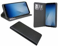"Book-Style Handy Hülle Tasche ""Carbon"" für Samsung Galaxy A8 2018 (A530F) @COFI"