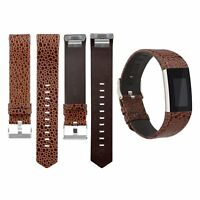Leather Replacement Strap Band Wristband Brown Stone Pattern for Fitbit Charge 2