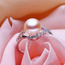 925 Silver Sterling Round White Purple Pink Pearl Crstal Rings Weddding Jewelry