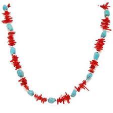 El Coral Collar Coral Rojo ramitas y Turquesa piedras pequeñas