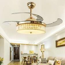 """42""""Crystal Ceiling Fans Light Remote Lamp Retractable 4 Acrylic Blades Invisible"""